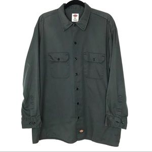 Dickies XL Gray Button Front Utility Work Shirt
